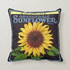Vintage Fruit Crate Label Art Orangedale Sunflower Pillow