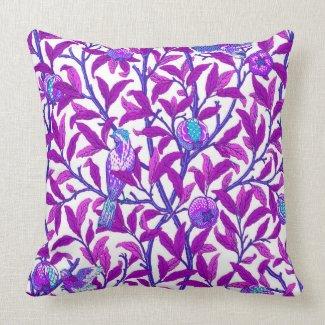 Art Nouveau Bird & Pomegranate, Amethyst Purple Throw Pillow