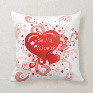 Retro Pink Red Valentine's Day Throw Pillow