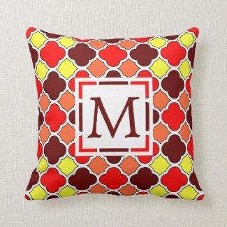 Red, Orange and Yellow Monogram Quatrefoil Pillow