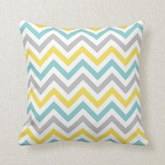 Chevron Throw Pillow | {Aqua, Sunshine & Grey}