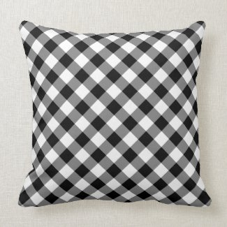 Diagonal Black and White Checked Plaid Throw Pillow