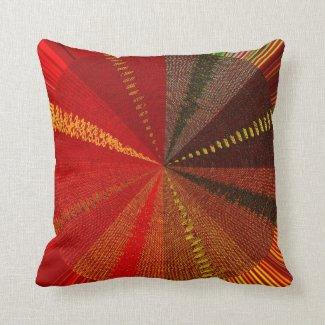 Orange Spiral Vortex Throw Pillow