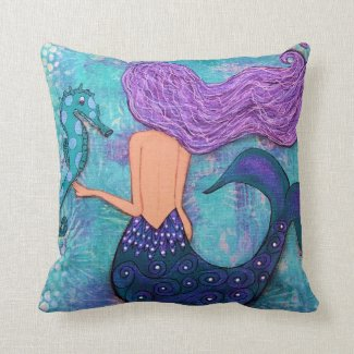 Mermaid and Seahorse Pillow