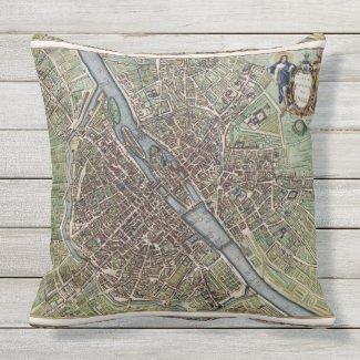 Antique Paris Map 1657 Seine River Vintage France Outdoor Pillow