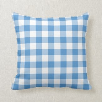 Light Blue and White Gingham Pattern Pillow