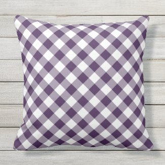 Classic Purple and White Diagonal Buffalo Plaid Throw Pillow