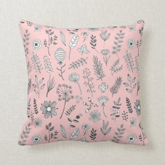 Pink Petite Flower and Leaf Pattern Pillow