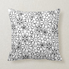Color-Me Your Theme Funky Hippy Retro Flowers Throw Pillow