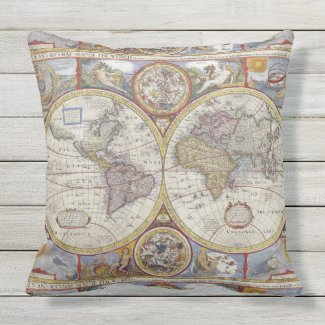 Antique World Map 1626 Illustrated Cartography Outdoor Pillow