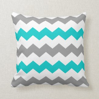 Turquoise and Grey Chevron Throw Pillow