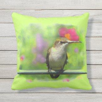 Hummingbird Green Pink Animal Outdoor Pillow