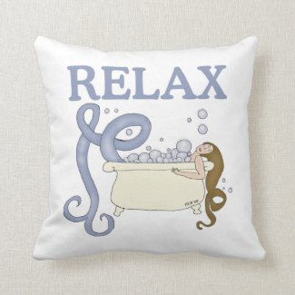 Relax Mermaid Throw Pillow