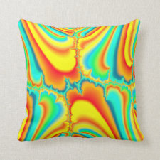 Colorful fractal psychedelic custom pillow