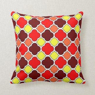 Fall Colors Red, Yellow, Orange, Brown Quatrefoil Pillow