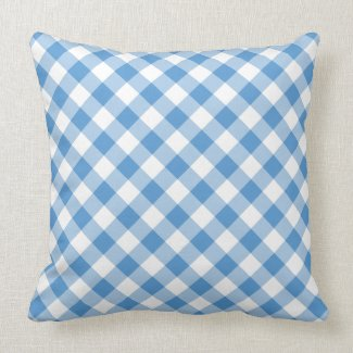 Classic Light Blue & White Diagonal Gingham Plaid Throw Pillow