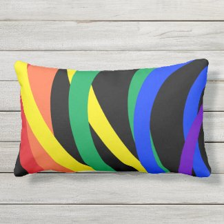 Rainbow Color Crescent Abstract Outdoor Pillow
