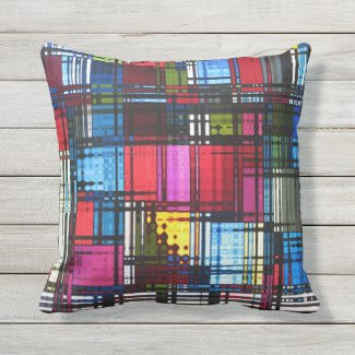 Colorful Abstract Pattern Outdoor Pillow