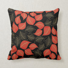 Red gold broad leaves pattern on black throw pillow