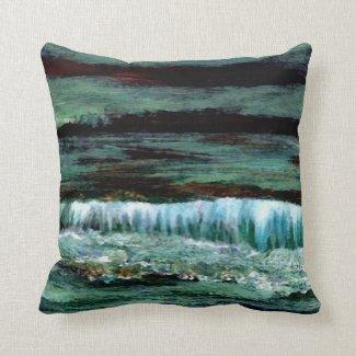 Emerald Sea Decorator Ocean Beach Waves Throw Pillow