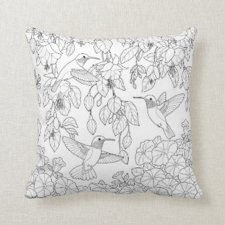 Hummingbirds and Flowers Adult Coloring Page Pillow