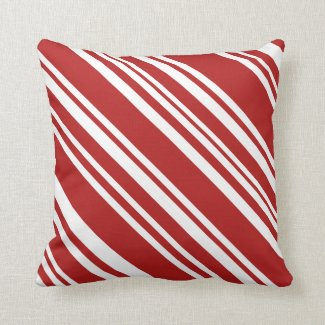 Red and White Modern Peppermint Stripe Pillow