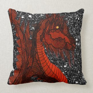 Red Dragon Sparkly Night Sky Fantasy Decor Throw Pillow
