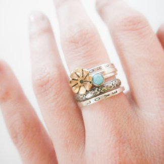 Customizable Golden Floral and Turquoise Ring // Five Ring Set Add Loving Words or Name
