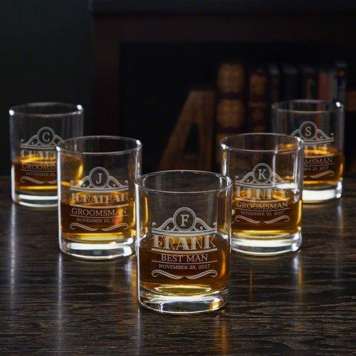 Set of 5 Engraved Rockefeller Whiskey Glasses