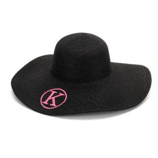 Black Floppy Beach Hat w/Hot Pink Monogram