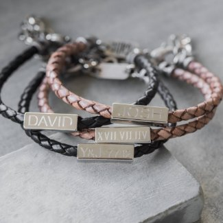 Engraved Braided Leather Bracelet For Men