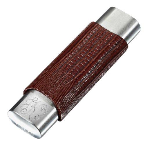 Visol Brown Leather 2 Finger Monogram Cigar Case