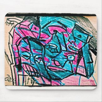 abstract aqua face mouse pad