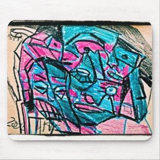 abstract aqua face mouse pad