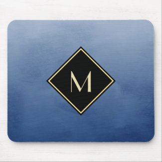 Elegant Brushed Blue With Simple Gold Monogram Mouse Pad