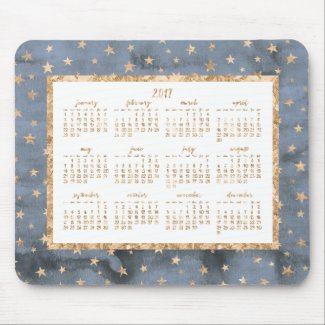 Golden Stars Yearly 2017 Calendar Mouse Pads Blue