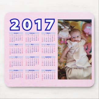 2017 Pink Personalized Calendar Mouse Pad