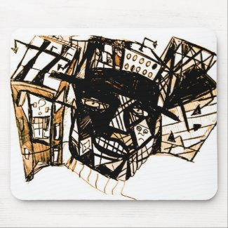 line face white mouse pad