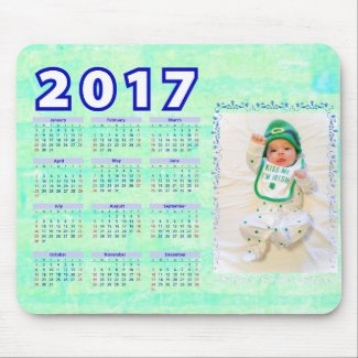 2017 Green Personalized Calendar Mouse Pad