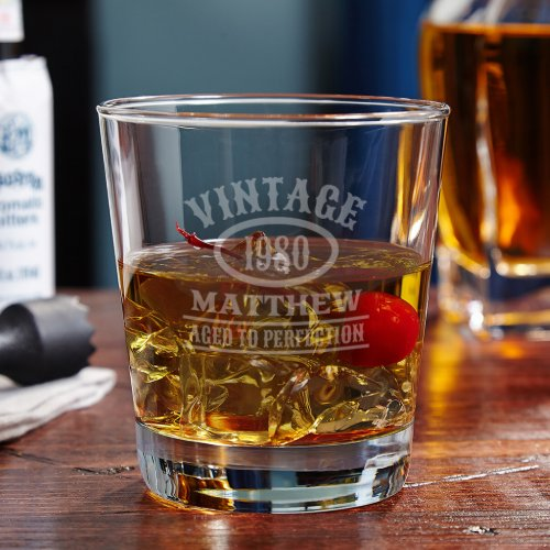Aged to Perfection Vintage Engraved Rocks Glass