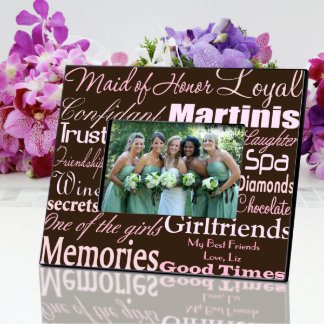 Pink on Brown Personalized Maid of Honor Frame Picture Frame