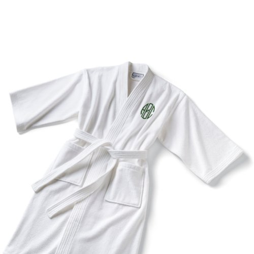 Ladies White Kimono-style Monogrammed Cotton Robe