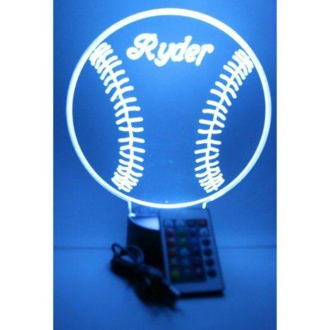 Baseball Sports Night Light Lamp LED Personalized