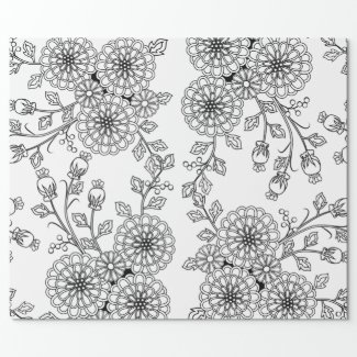 Color your own flower gift wrap