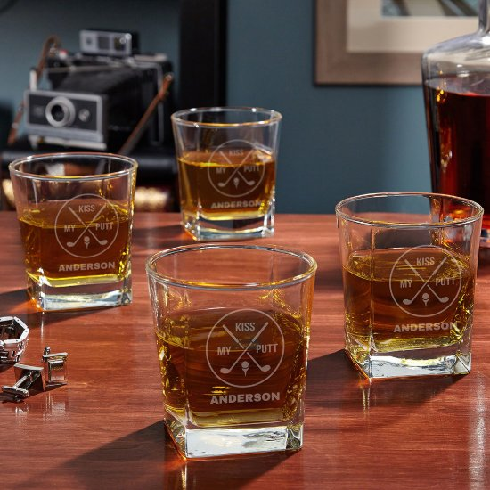 Kiss My Putt Personalized Whiskey Glass Set