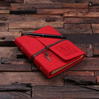 Personalized Felt Notebook & Pen - Red