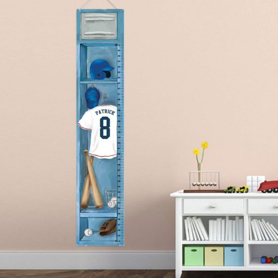 Personalized Sports Locker Growth Chart - Baseball