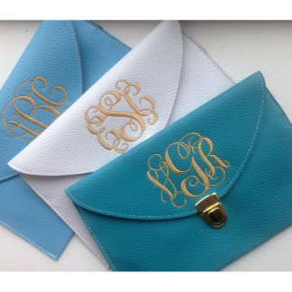 Faux Leather Monogrammed Clutch Wedding Purse