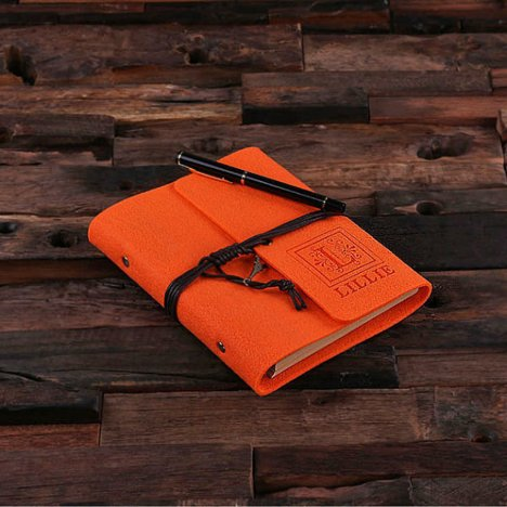 Personalized Felt Notebook/Journal - Orange