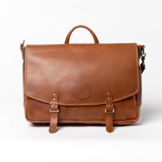 Brown Leather and Yellow Canvas Messenger Backpack
